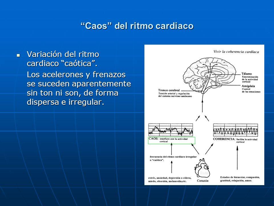 Caos del ritmo cardiaco Variación del ritmo cardiaco caótica. Variación del ritmo cardiaco caótica. Los acelerones y frenazos se suceden aparentemente