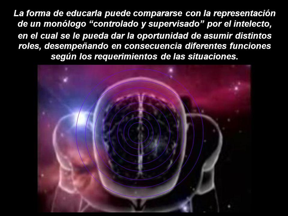 La forma de educarla puede compararse con la representación de un monólogo controlado y supervisado por el intelecto, roles, desempeñando en consecuencia diferentes funciones según los requerimientos de las situaciones.