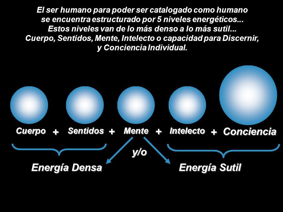 CuerpoSentidosMenteIntelecto Conciencia + ++ + Energía DensaEnergía Sutil El ser humano para poder ser catalogado como humano se encuentra estructurado por 5 niveles energéticos...