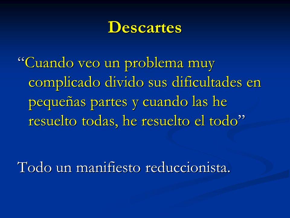 Descartes Cuando veo un problema muy complicado divido sus dificultades en pequeñas partes y cuando las he resuelto todas, he resuelto el todoCuando v