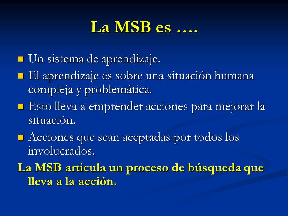 La MSB es …. Un sistema de aprendizaje. Un sistema de aprendizaje. El aprendizaje es sobre una situación humana compleja y problemática. El aprendizaj