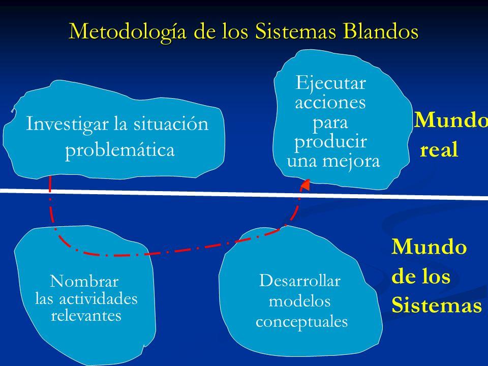 Investigar la situación problemática Ejecutar acciones para producir una mejora Nombrar las actividades relevantes Desarrollar modelos conceptuales Mu
