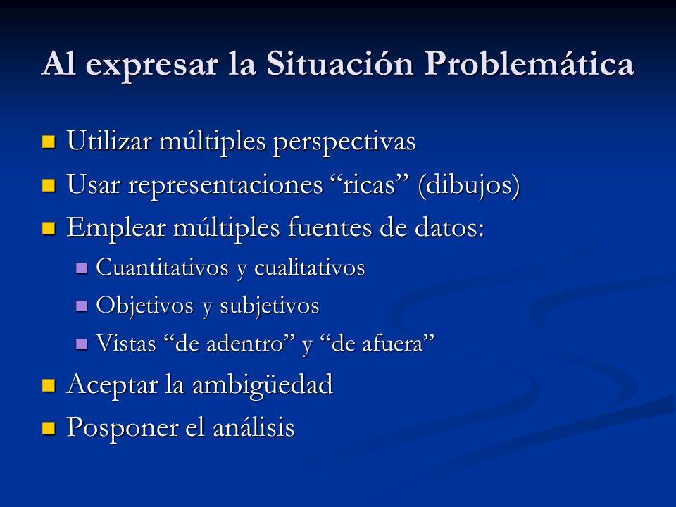 Al expresar la Situación Problemática Utilizar múltiples perspectivas Utilizar múltiples perspectivas Usar representaciones ricas (dibujos) Usar repre