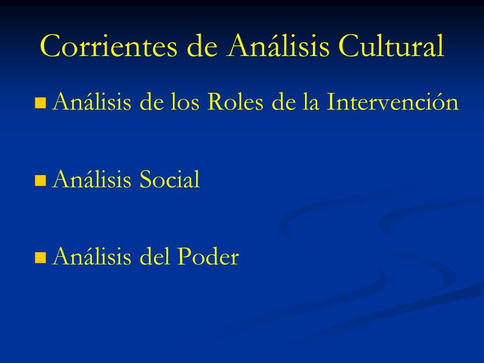 Corrientes de Análisis Cultural Análisis de los Roles de la Intervención Análisis Social Análisis del Poder