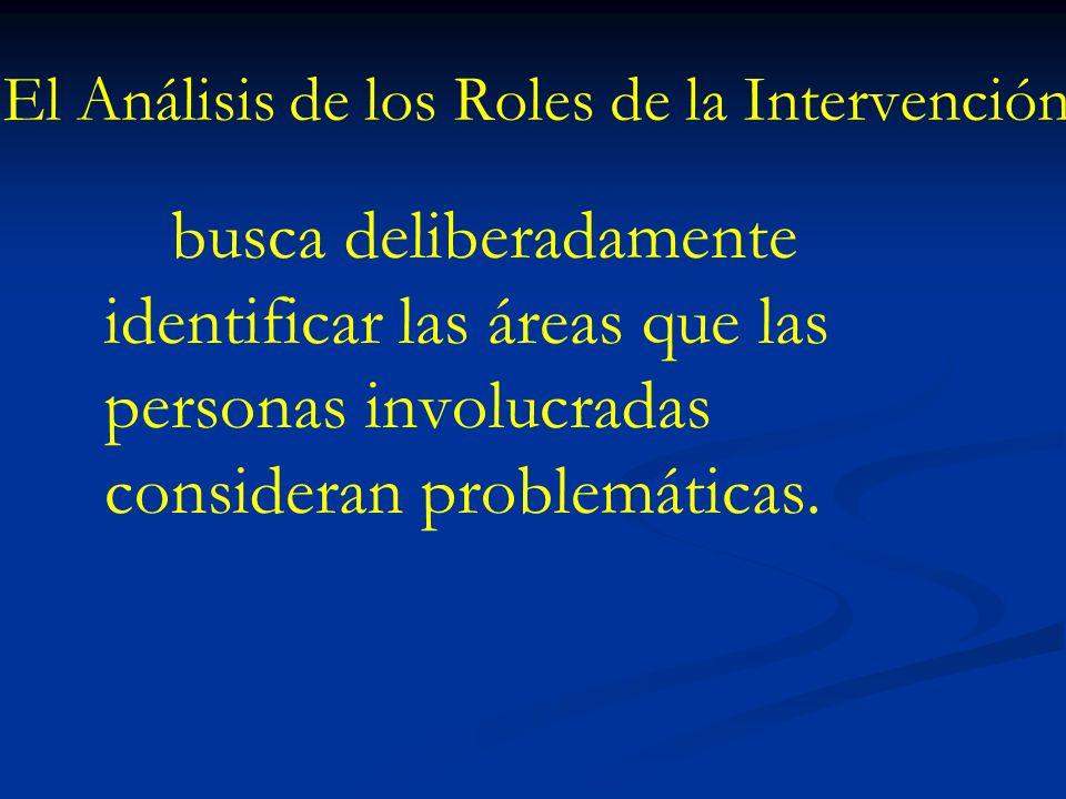 El Análisis de los Roles de la Intervención busca deliberadamente identificar las áreas que las personas involucradas consideran problemáticas.