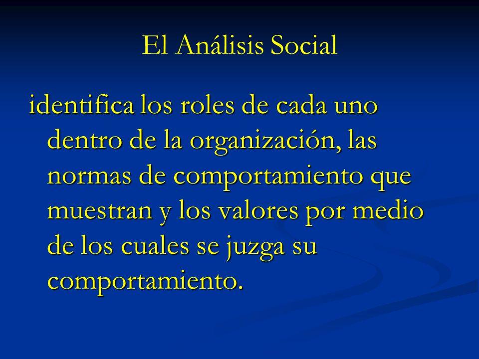 El Análisis Social identifica los roles de cada uno dentro de la organización, las normas de comportamiento que muestran y los valores por medio de lo