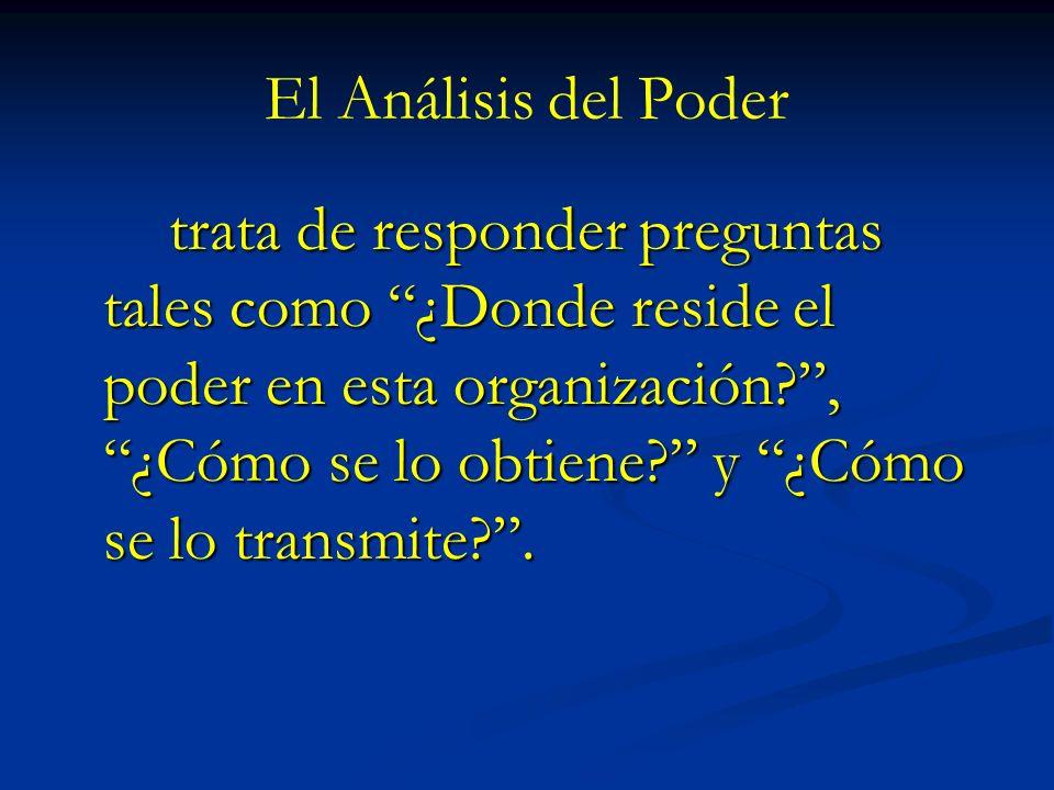 El Análisis del Poder trata de responder preguntas tales como ¿Donde reside el poder en esta organización?, ¿Cómo se lo obtiene? y ¿Cómo se lo transmi