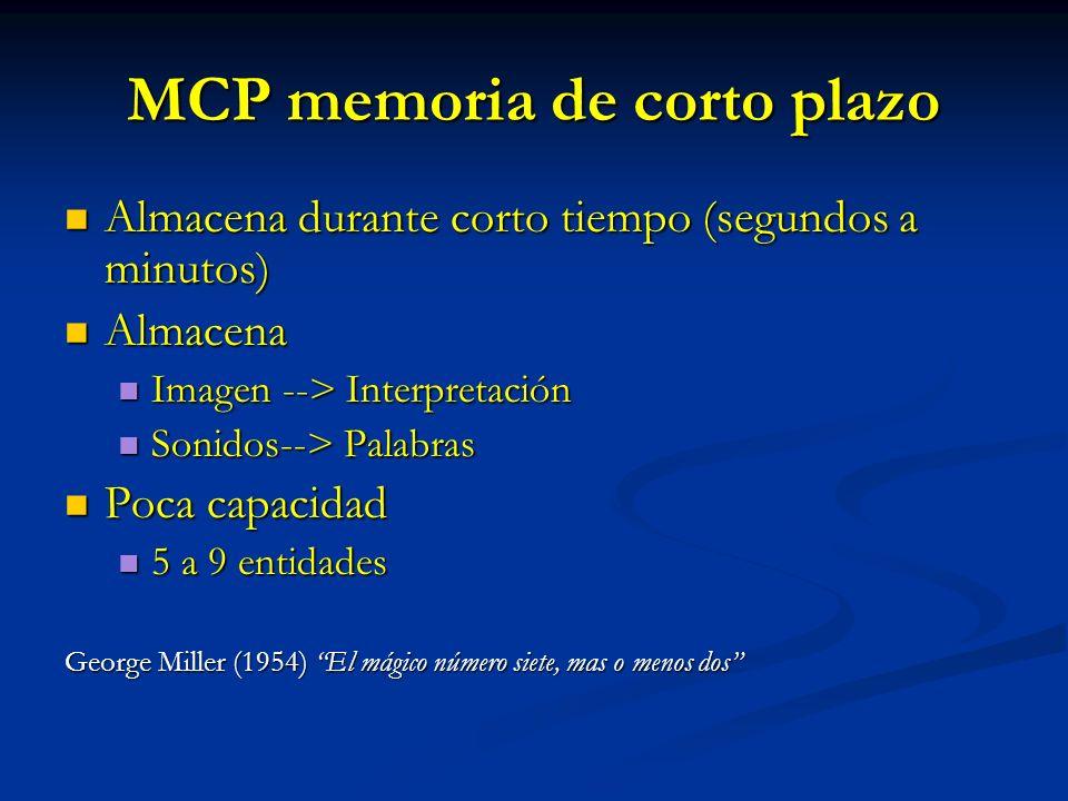 MCP memoria de corto plazo Almacena durante corto tiempo (segundos a minutos) Almacena durante corto tiempo (segundos a minutos) Almacena Almacena Ima