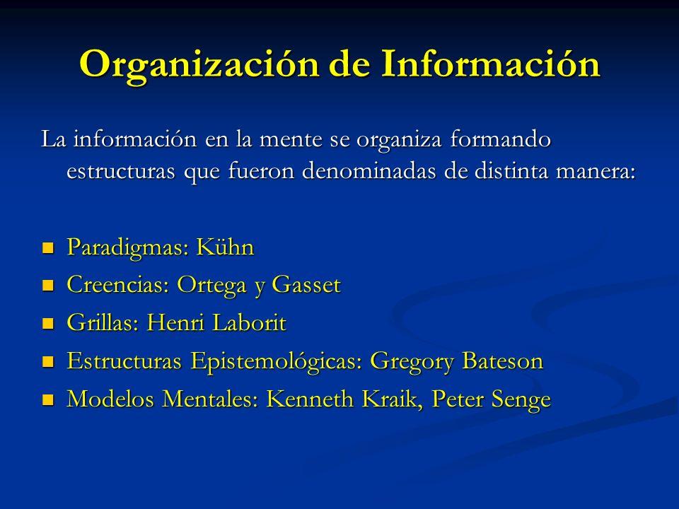 Organización de Información La información en la mente se organiza formando estructuras que fueron denominadas de distinta manera: Paradigmas: Kühn Pa