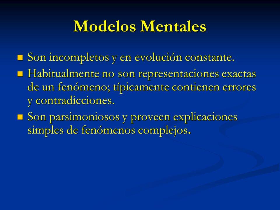 Modelos Mentales Son incompletos y en evolución constante. Son incompletos y en evolución constante. Habitualmente no son representaciones exactas de