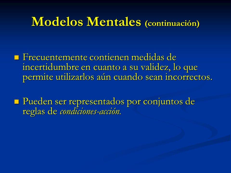 Modelos Mentales (continuación) Frecuentemente contienen medidas de incertidumbre en cuanto a su validez, lo que permite utilizarlos aún cuando sean i