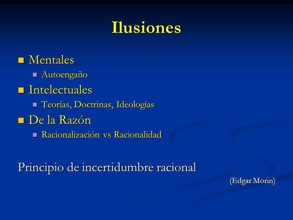 Ilusiones Mentales Mentales Autoengaño Autoengaño Intelectuales Intelectuales Teorías, Doctrinas, Ideologías Teorías, Doctrinas, Ideologías De la Razó