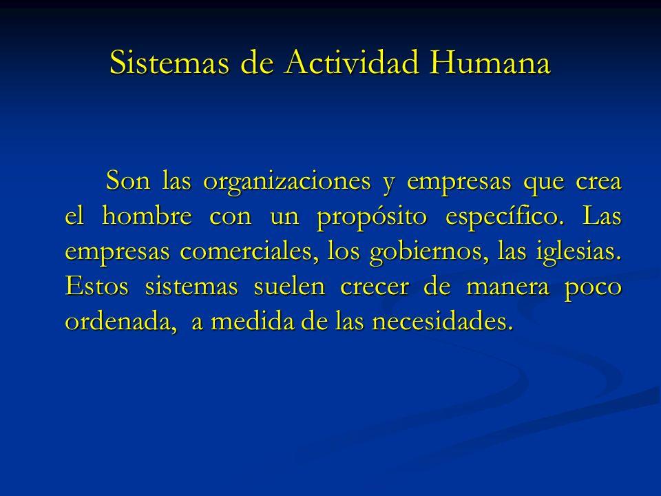 Sistemas de Actividad Humana Son las organizaciones y empresas que crea el hombre con un propósito específico. Las empresas comerciales, los gobiernos