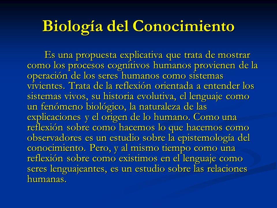 Biología del Conocimiento Es una propuesta explicativa que trata de mostrar como los procesos cognitivos humanos provienen de la operación de los sere