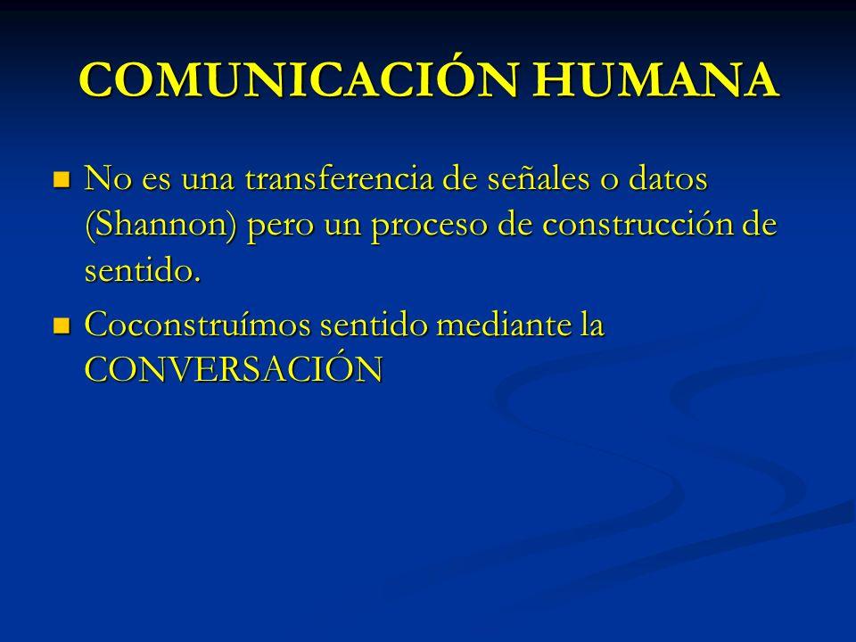 COMUNICACIÓN HUMANA No es una transferencia de señales o datos (Shannon) pero un proceso de construcción de sentido. No es una transferencia de señale