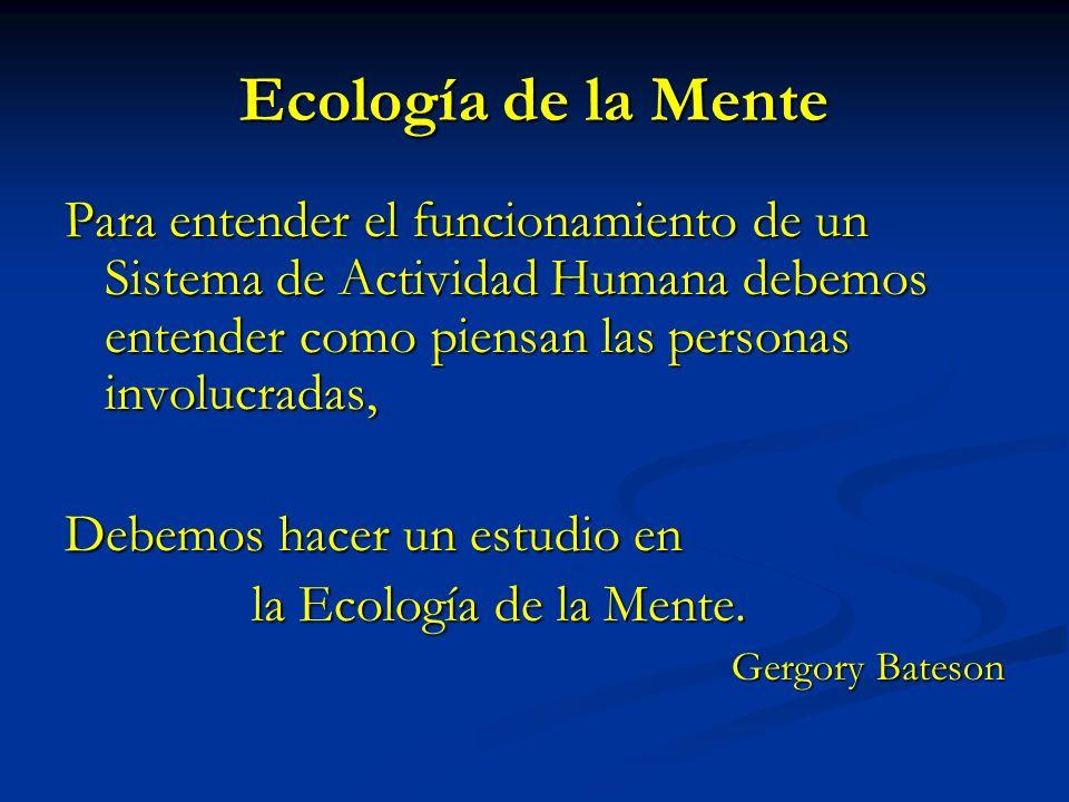 Ecología de la Mente Para entender el funcionamiento de un Sistema de Actividad Humana debemos entender como piensan las personas involucradas, Debemo
