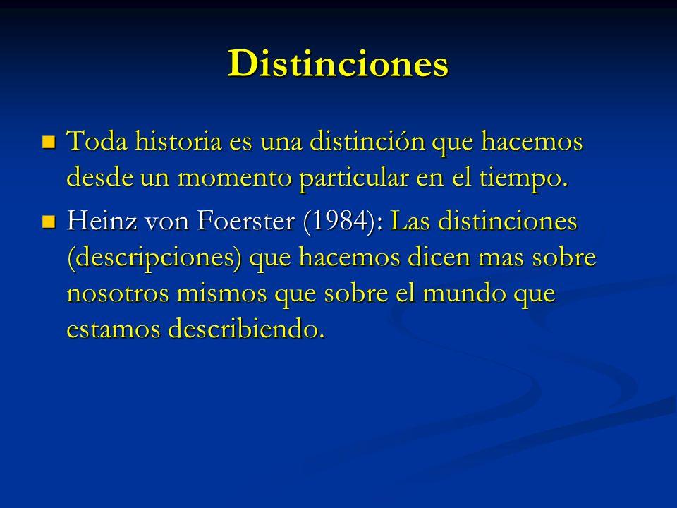 Distinciones Toda historia es una distinción que hacemos desde un momento particular en el tiempo. Toda historia es una distinción que hacemos desde u