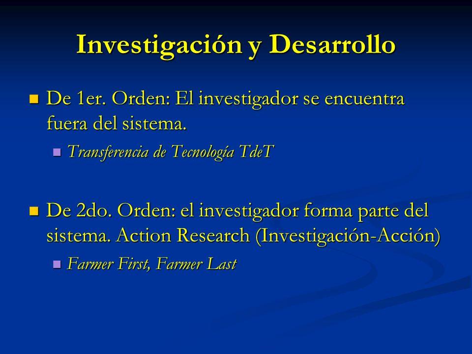 Investigación y Desarrollo De 1er. Orden: El investigador se encuentra fuera del sistema. De 1er. Orden: El investigador se encuentra fuera del sistem