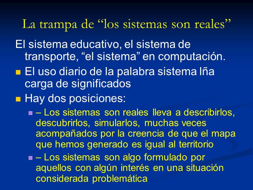 La trampa de los sistemas son reales El sistema educativo, el sistema de transporte, el sistema en computación. El uso diario de la palabra sistema lñ