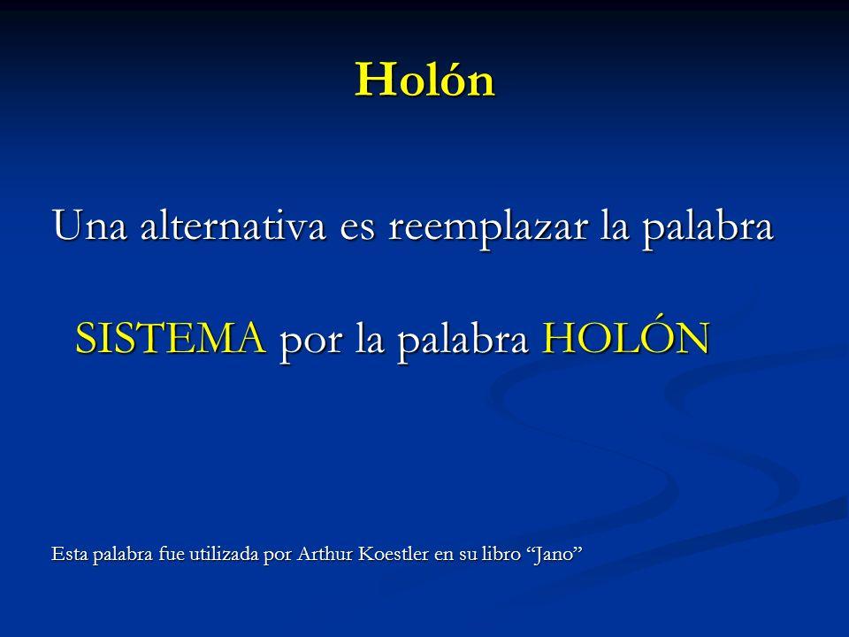 Holón Una alternativa es reemplazar la palabra SISTEMA por la palabra HOLÓN SISTEMA por la palabra HOLÓN Esta palabra fue utilizada por Arthur Koestle