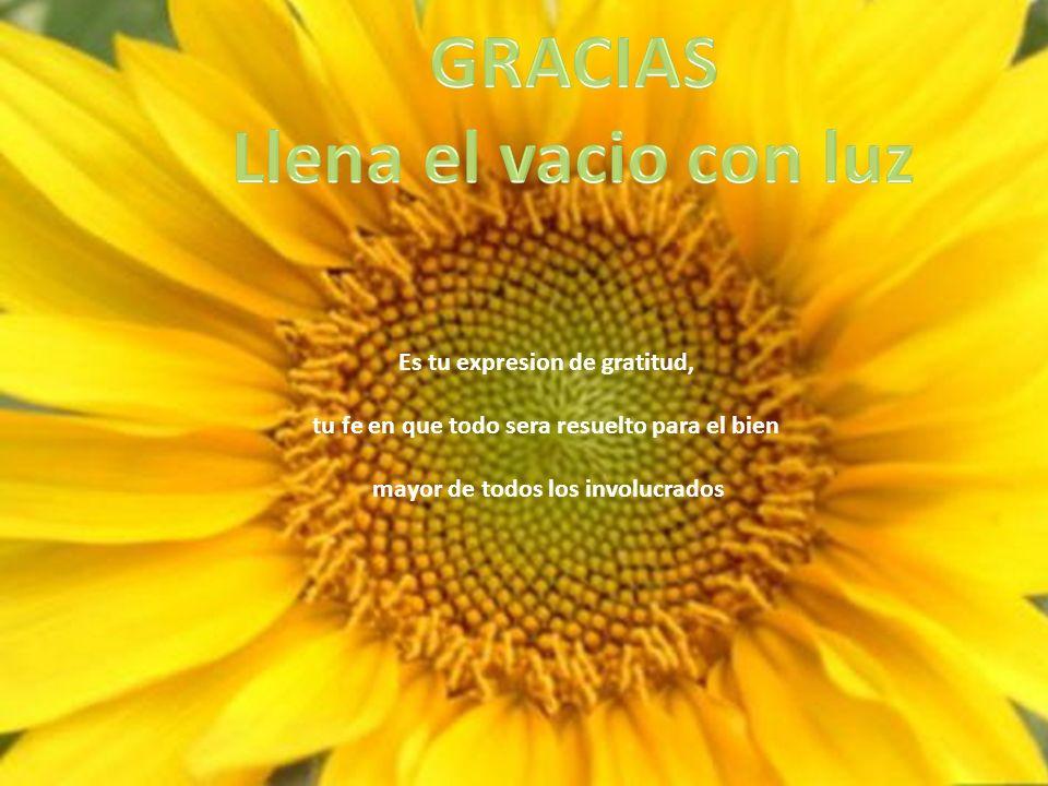 Es tu expresion de gratitud, tu fe en que todo sera resuelto para el bien mayor de todos los involucrados