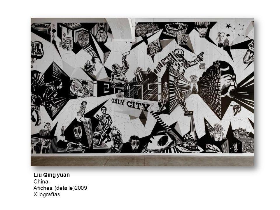 Liu Qing yuan China. Afiches. (detalle)2009 Xilografías