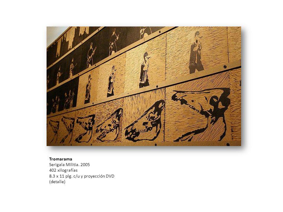 Tromarama Serigala Militia. 2005 402 xilografías 8.3 x 11 plg. c/u y proyección DVD (detalle)