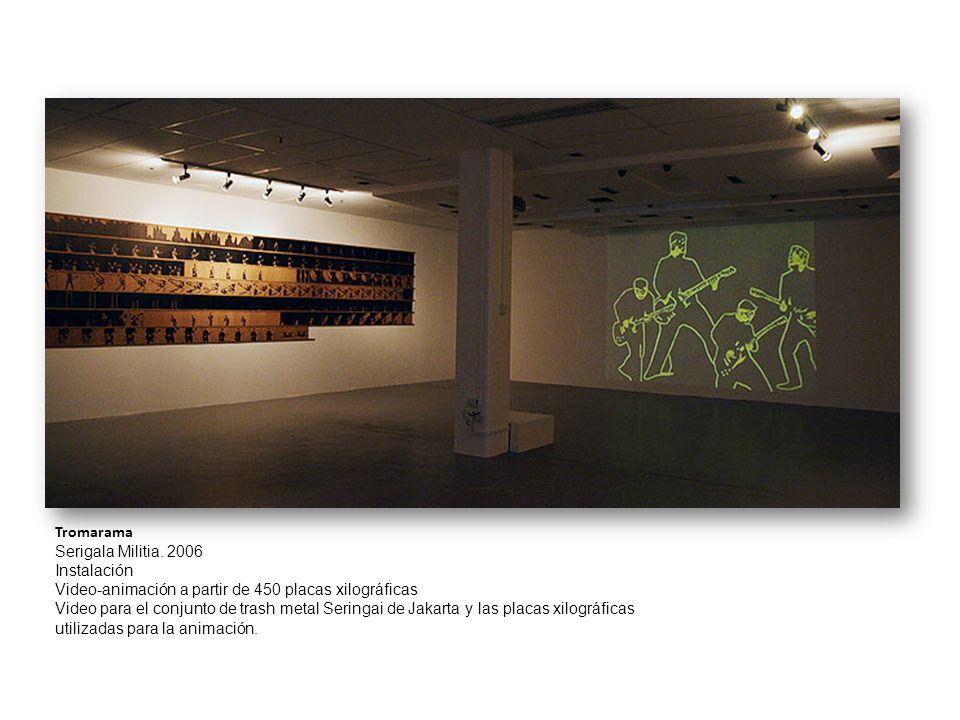Tromarama Serigala Militia. 2006 Instalación Video-animación a partir de 450 placas xilográficas Video para el conjunto de trash metal Seringai de Jak