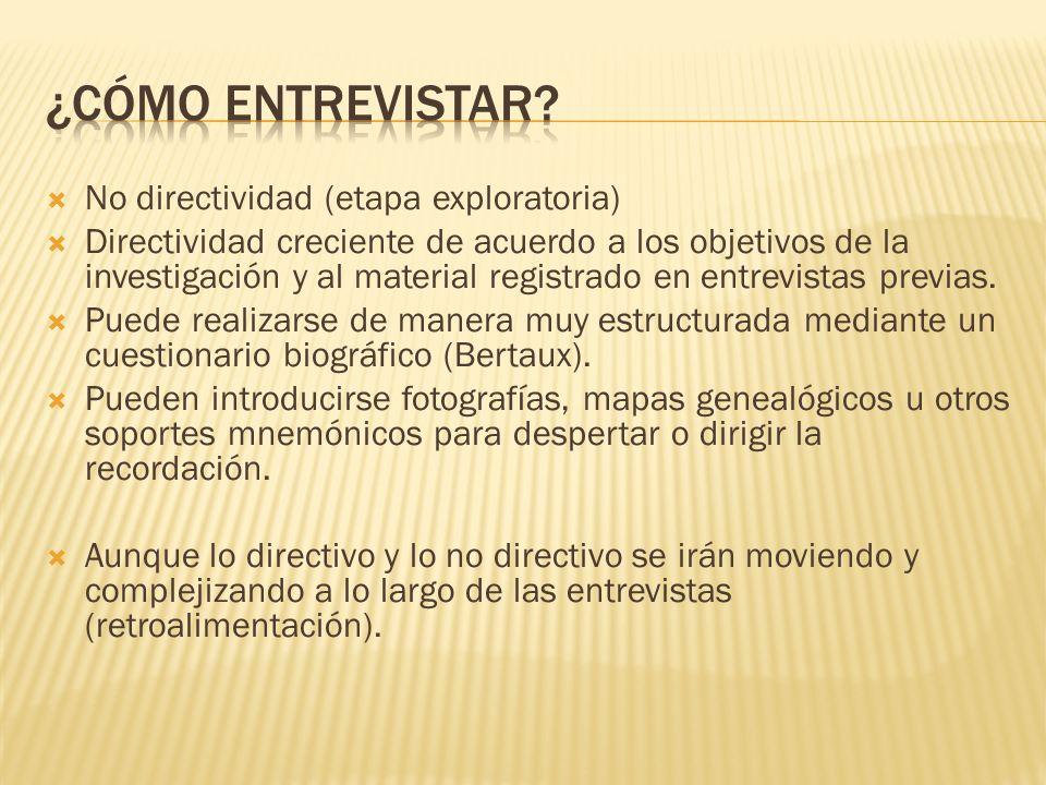 No directividad (etapa exploratoria) Directividad creciente de acuerdo a los objetivos de la investigación y al material registrado en entrevistas pre