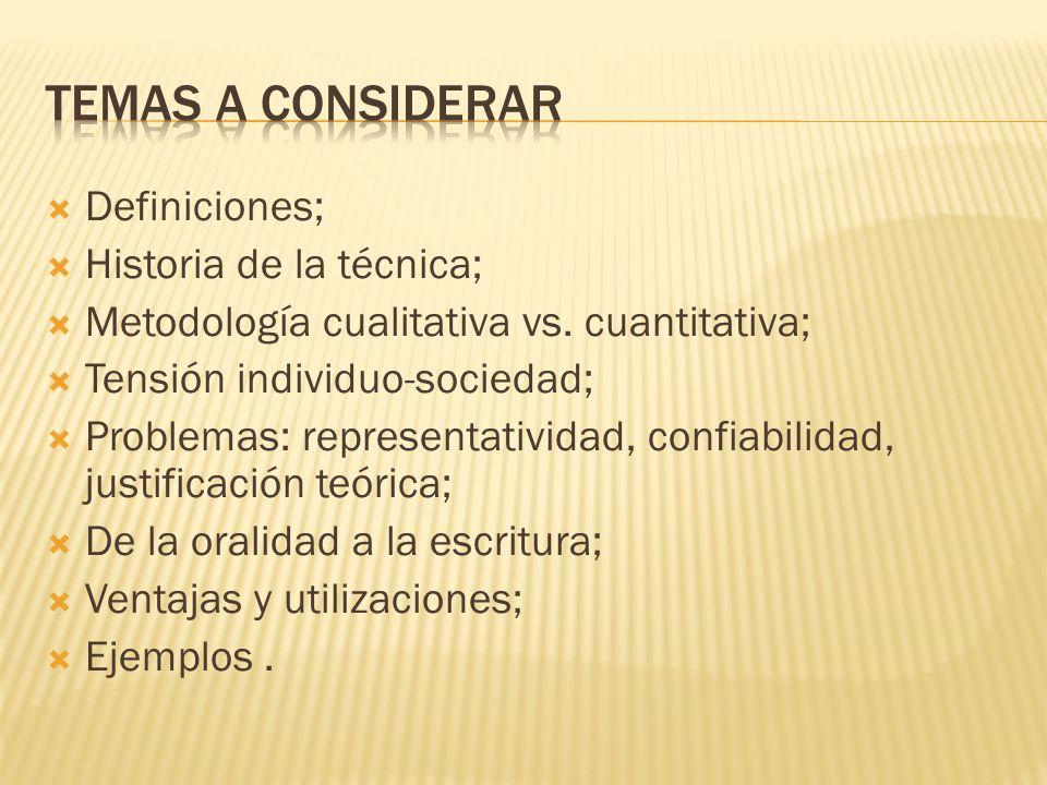 Definiciones; Historia de la técnica; Metodología cualitativa vs. cuantitativa; Tensión individuo-sociedad; Problemas: representatividad, confiabilida