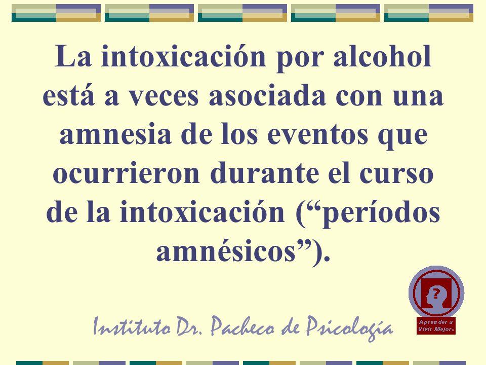 Instituto Dr. Pacheco de Psicología La intoxicación por alcohol está a veces asociada con una amnesia de los eventos que ocurrieron durante el curso d