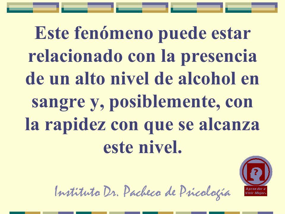 Instituto Dr. Pacheco de Psicología Este fenómeno puede estar relacionado con la presencia de un alto nivel de alcohol en sangre y, posiblemente, con