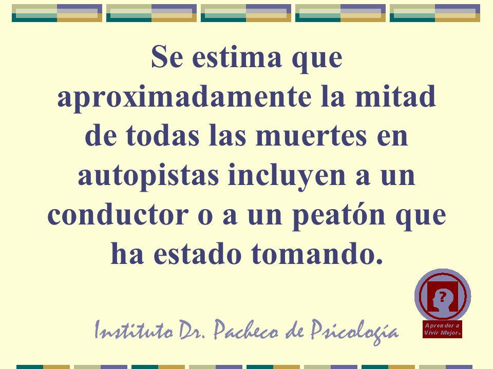 Instituto Dr. Pacheco de Psicología Se estima que aproximadamente la mitad de todas las muertes en autopistas incluyen a un conductor o a un peatón qu