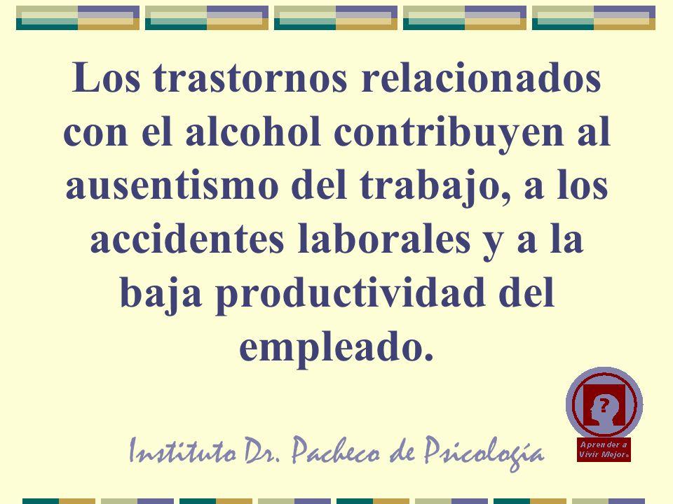 Instituto Dr. Pacheco de Psicología Los trastornos relacionados con el alcohol contribuyen al ausentismo del trabajo, a los accidentes laborales y a l