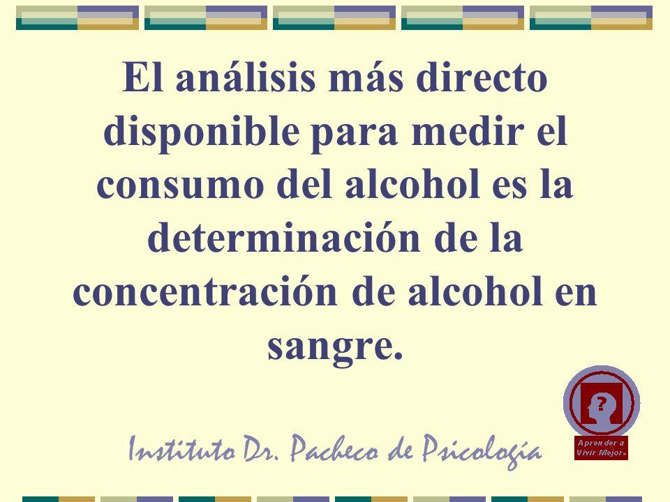 Instituto Dr. Pacheco de Psicología El análisis más directo disponible para medir el consumo del alcohol es la determinación de la concentración de al