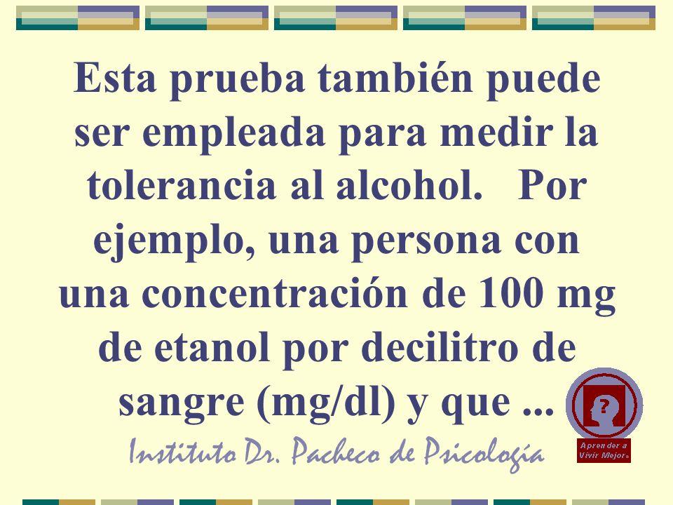 Instituto Dr. Pacheco de Psicología Esta prueba también puede ser empleada para medir la tolerancia al alcohol. Por ejemplo, una persona con una conce