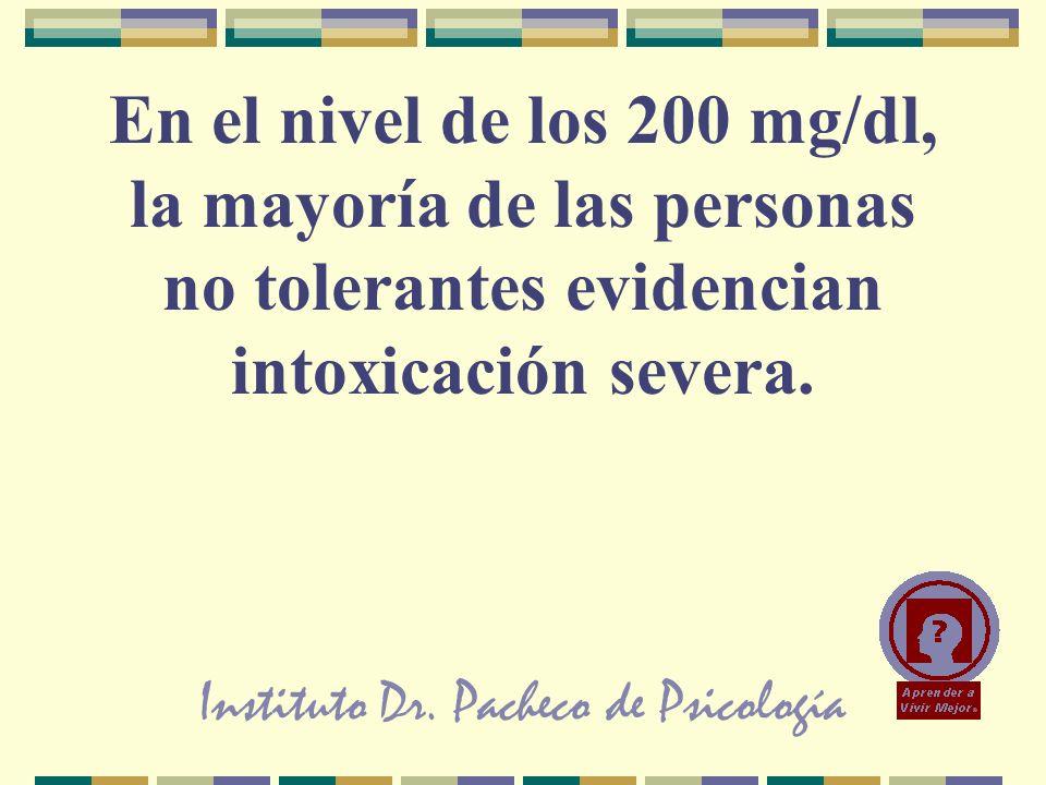 Instituto Dr. Pacheco de Psicología En el nivel de los 200 mg/dl, la mayoría de las personas no tolerantes evidencian intoxicación severa.