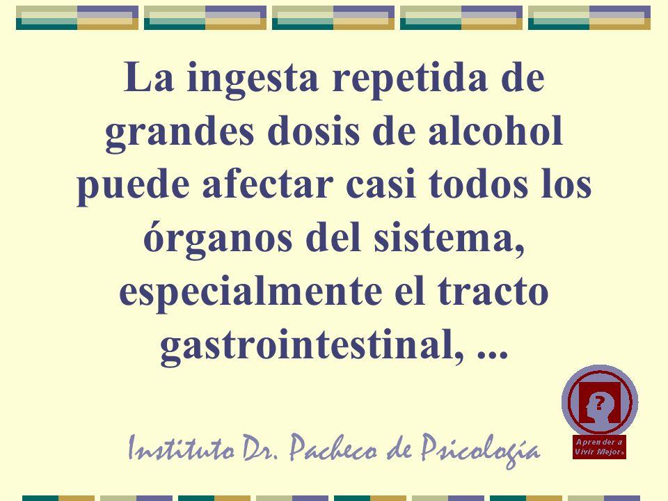 Instituto Dr. Pacheco de Psicología La ingesta repetida de grandes dosis de alcohol puede afectar casi todos los órganos del sistema, especialmente el