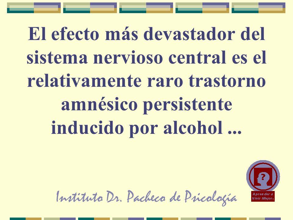 Instituto Dr. Pacheco de Psicología El efecto más devastador del sistema nervioso central es el relativamente raro trastorno amnésico persistente indu