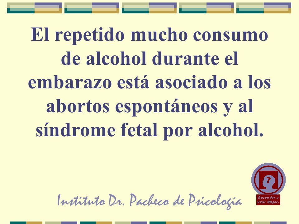 Instituto Dr. Pacheco de Psicología El repetido mucho consumo de alcohol durante el embarazo está asociado a los abortos espontáneos y al síndrome fet