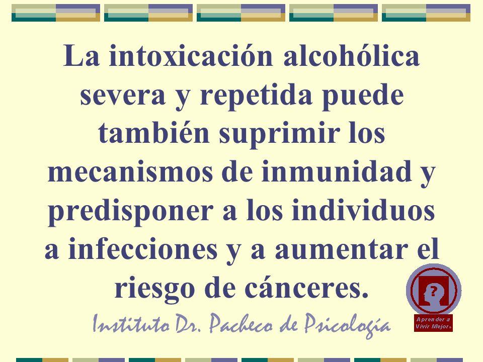 Instituto Dr. Pacheco de Psicología La intoxicación alcohólica severa y repetida puede también suprimir los mecanismos de inmunidad y predisponer a lo