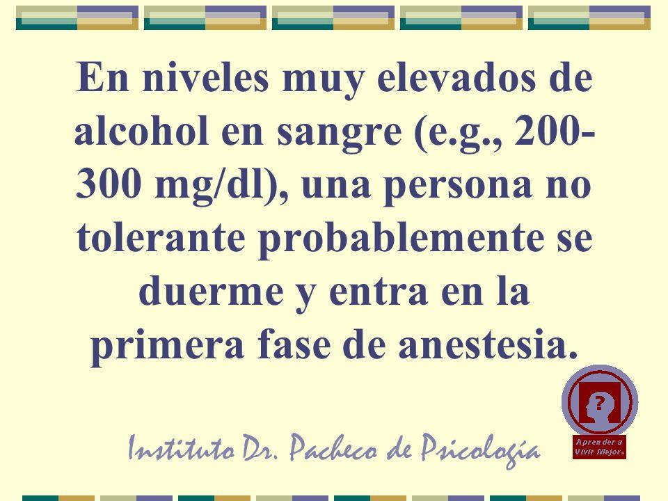 Instituto Dr. Pacheco de Psicología En niveles muy elevados de alcohol en sangre (e.g., 200- 300 mg/dl), una persona no tolerante probablemente se due