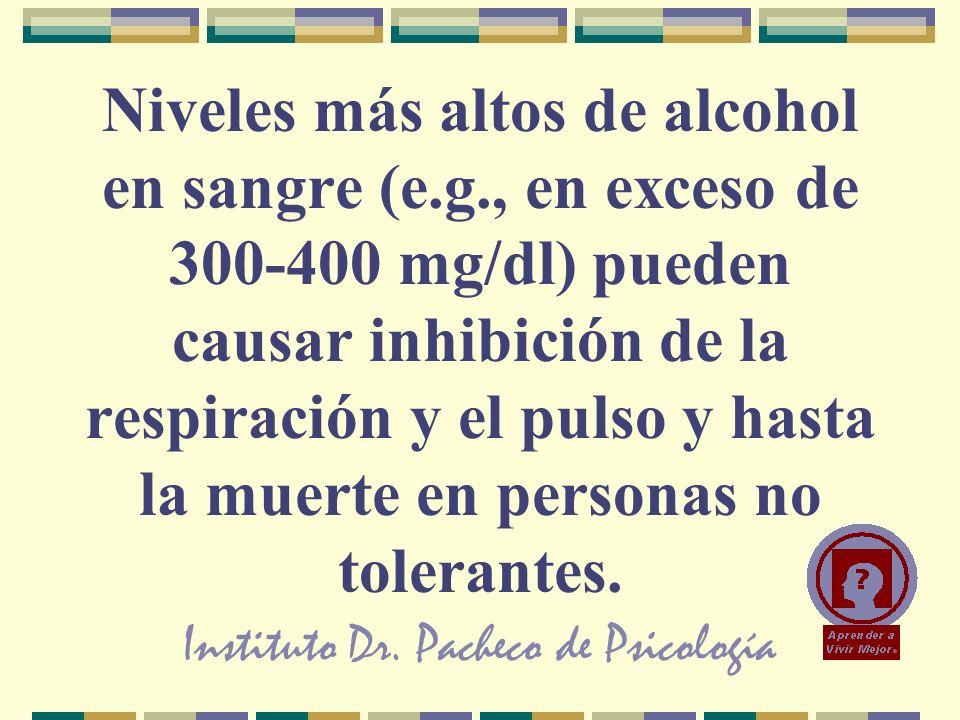 Instituto Dr. Pacheco de Psicología Niveles más altos de alcohol en sangre (e.g., en exceso de 300-400 mg/dl) pueden causar inhibición de la respiraci