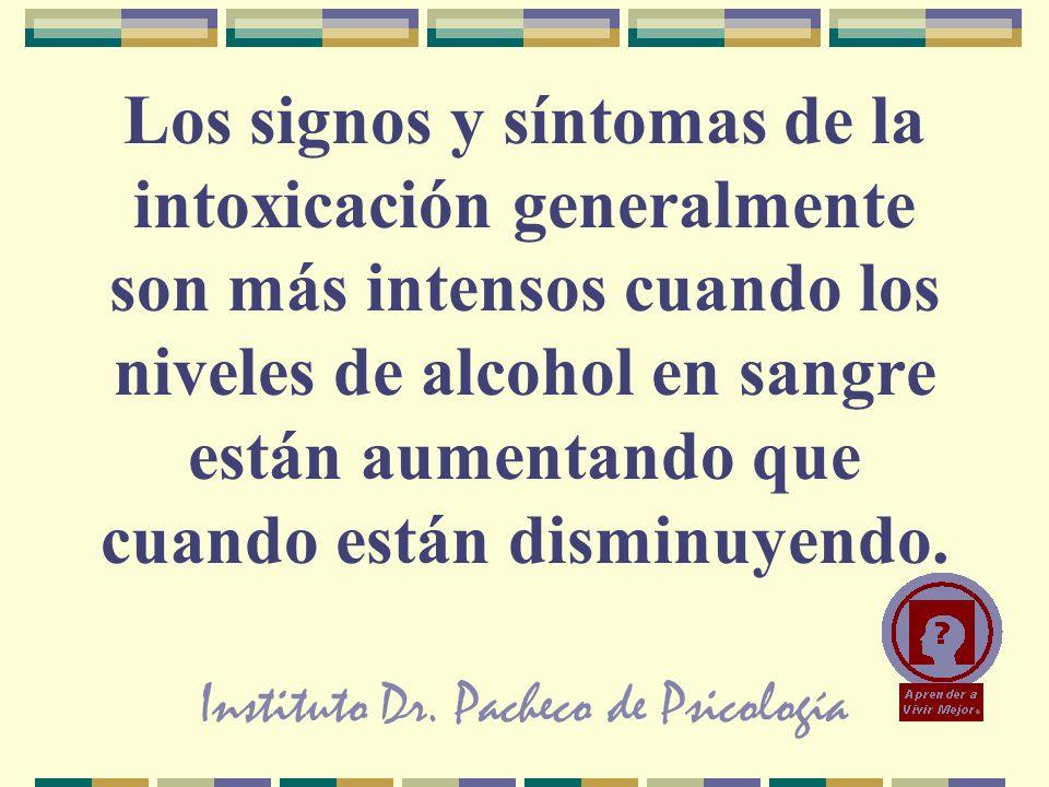 Instituto Dr. Pacheco de Psicología Los signos y síntomas de la intoxicación generalmente son más intensos cuando los niveles de alcohol en sangre est