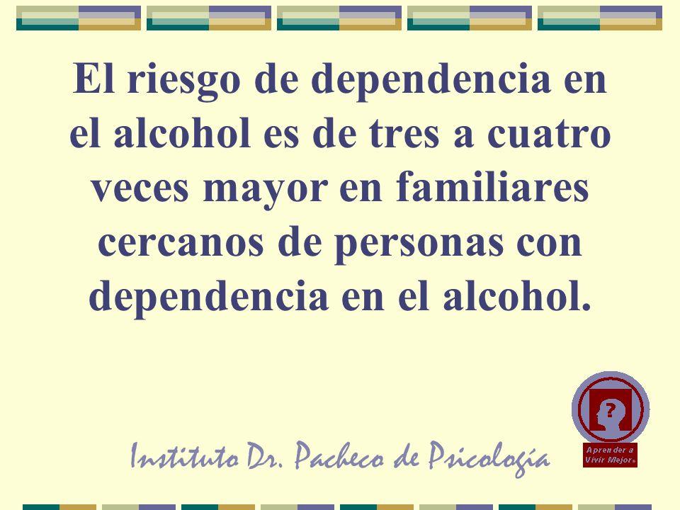 Instituto Dr. Pacheco de Psicología El riesgo de dependencia en el alcohol es de tres a cuatro veces mayor en familiares cercanos de personas con depe