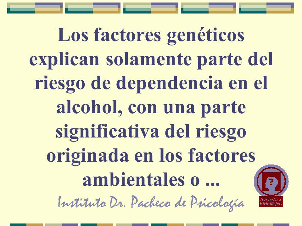 Instituto Dr. Pacheco de Psicología Los factores genéticos explican solamente parte del riesgo de dependencia en el alcohol, con una parte significati
