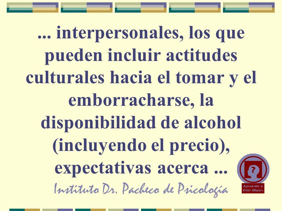 Instituto Dr. Pacheco de Psicología... interpersonales, los que pueden incluir actitudes culturales hacia el tomar y el emborracharse, la disponibilid