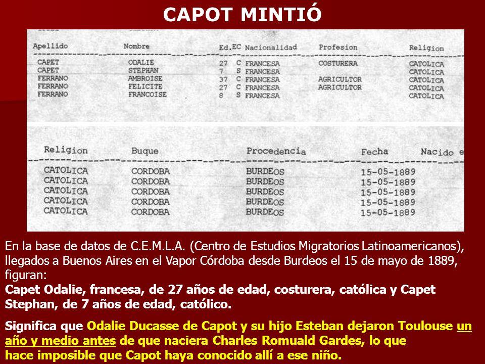 CAPOT MINTIÓ En la base de datos de C.E.M.L.A. (Centro de Estudios Migratorios Latinoamericanos), llegados a Buenos Aires en el Vapor Córdoba desde Bu