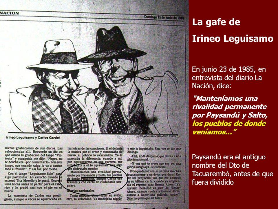 La gafe de Irineo Leguisamo En junio 23 de 1985, en entrevista del diario La Nación, dice: