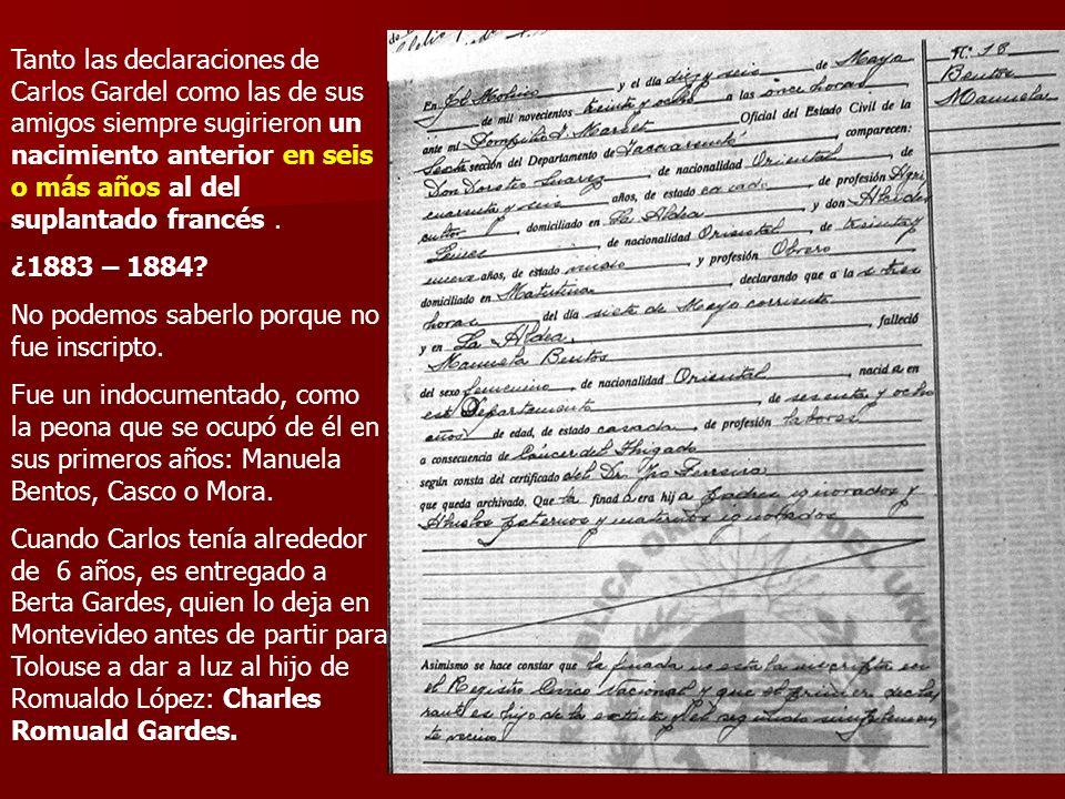 Tanto las declaraciones de Carlos Gardel como las de sus amigos siempre sugirieron un nacimiento anterior en seis o más años al del suplantado francés